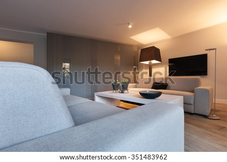 Interior of house, modern comfortable living room - stock photo
