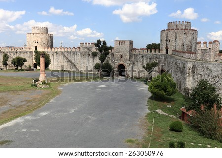 Interior of inner courtyard of Yedikule Fortres in Istanbul - stock photo