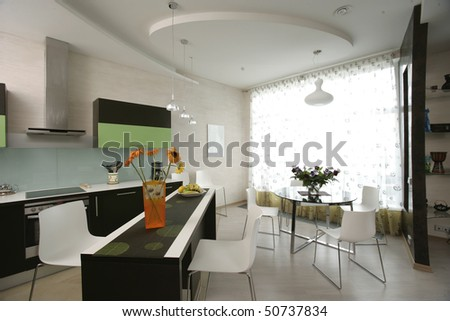 interior of kitchen and dinning room - stock photo
