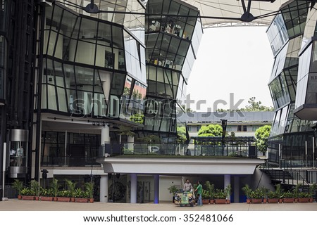 Interior of Lasalle College of the Arts. Singapore, Winstedt Road, November 4, 2015. An arts educational institution. Glass, metal construction, modern style - stock photo