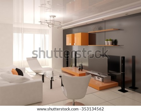 Interior of living-room, 3d rendering.