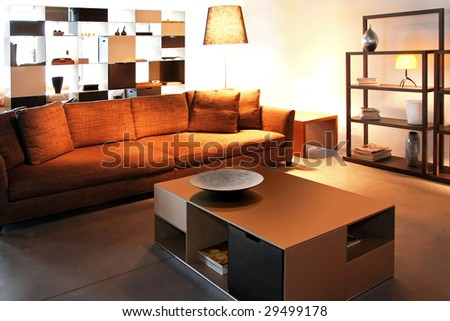 Interior of living room in brown and sepia