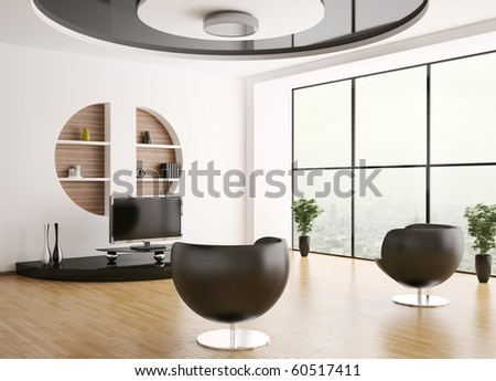 Interior of living room with armchairs and lcd 3d render - stock photo