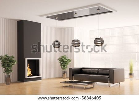 Interior of living room with fireplace 3d render - stock photo