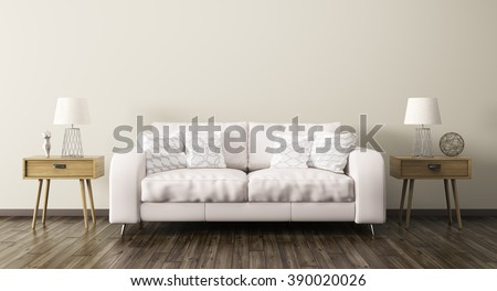 Interior of living room with sofa and two wooden side tables 3d render - stock photo
