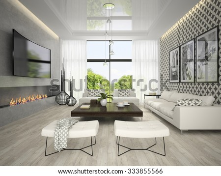 Interior of living room with tree posters 3D rendering  - stock photo