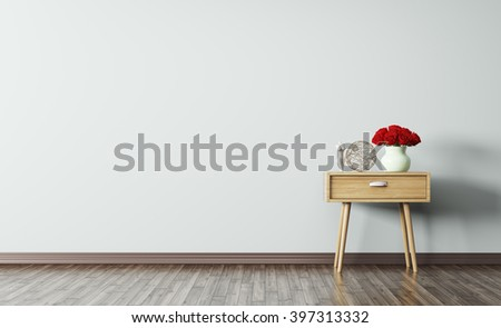 Interior of living room with wooden side table 3d render - stock photo