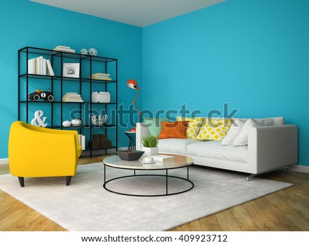 Interior of living room with yellow armchair 3D rendering  - stock photo