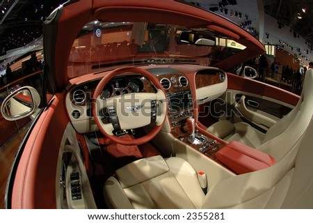 Interior of luxury car , wide-angle view - stock photo