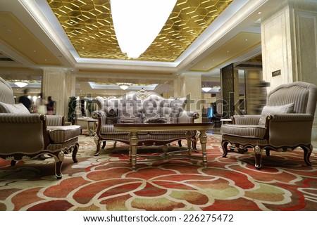 Interior of Luxury lobby - stock photo