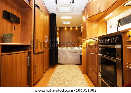 Interior of Luxury Motorhome - stock photo
