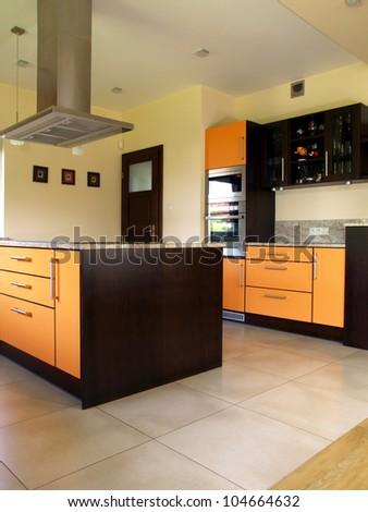 Interior of luxury new and modern kitchen - stock photo