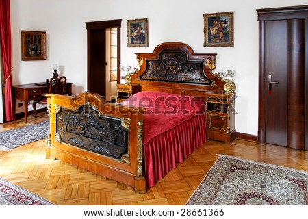 Interior of luxury rustic style hotel room - stock photo