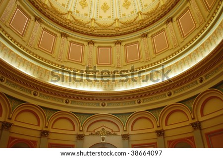Interior of main rotunda and dome; California State Capitol Building; Sacramento, California - stock photo
