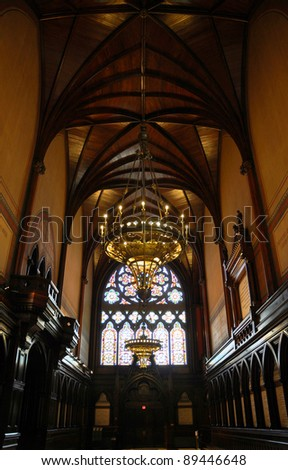 Interior of Memorial Hall, Harvard University, Cambridge, MA - stock photo