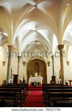 Interior of Mertola church, Portugal. - stock photo