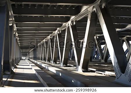 Interior of metal bridge in the day. Kiev, Ukraine - stock photo