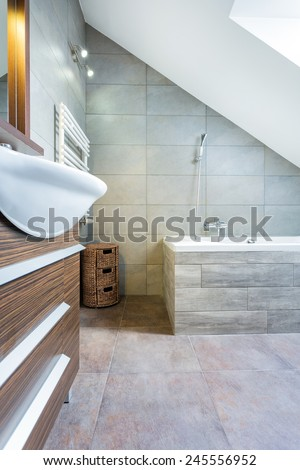 Interior of modern and expensive bathroom, vertical - stock photo