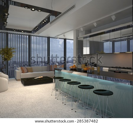 Interior of Modern Apartment Condominium, with View of Kitchen with Breakfast Bar and Sitting Room. 3d Rendering. - stock photo