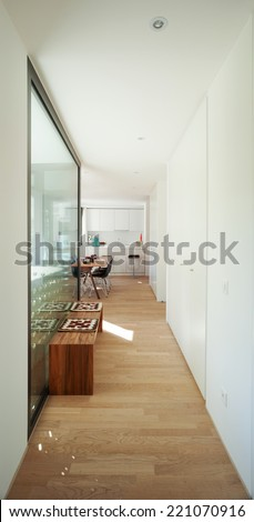 Interior of modern apartment furnished, passage - stock photo