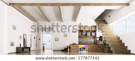 Interior of modern apartment hall kitchen panorama 3d render - stock photo