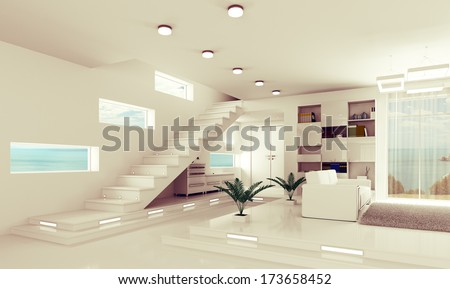Interior of modern apartment hall with staircase 3d render - stock photo
