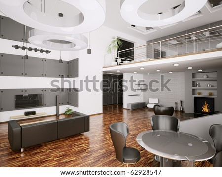 Interior of modern apartment living room 3d render - stock photo