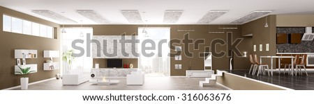 Interior of modern apartment living room hall kitchen panorama 3d render - stock photo