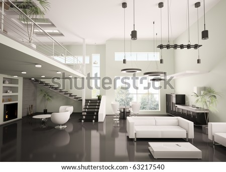 Interior of modern apartment living room kitchen 3d render - stock photo