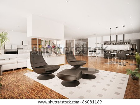 Interior of modern apartment living room kitchen hall 3d render - stock photo