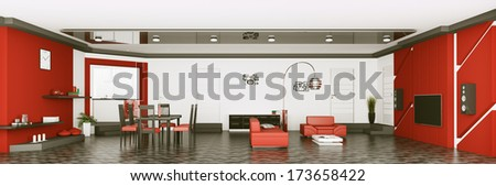 Interior of modern apartment living room panorama 3d render