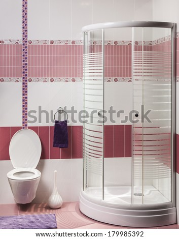 Interior of modern bathroom with shower