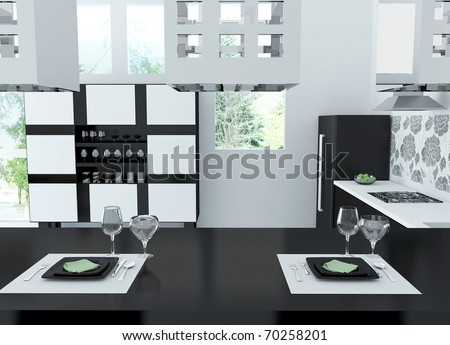 Interior of modern black and white kitchen, 3d render - stock photo