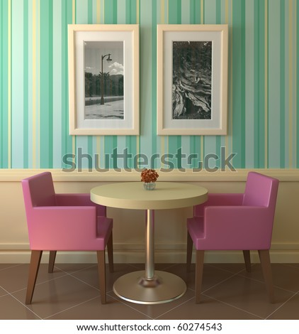 Interior of modern coffee house. 3d render. Photos on the wall was made by myself. - stock photo