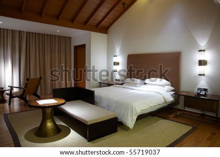 Interior of modern comfortable hotel room - stock photo