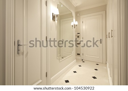 Interior of modern corridor - stock photo