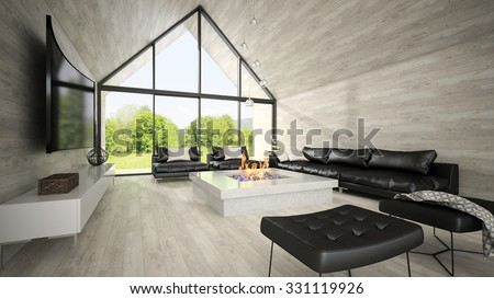 Interior of modern design living room 3D rendering - stock photo