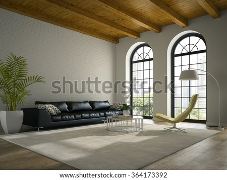 Interior of modern  design loft  with black sofa 3D rendering  - stock photo