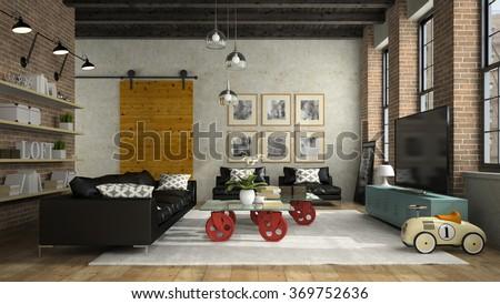 Interior of modern design loft with black sofa 3D rendering  - stock photo