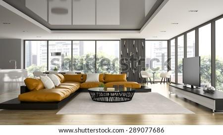 Interior of modern design loft with orange sofa 3D rendering  - stock photo