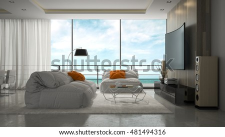 Interior of modern design room 3D rendering