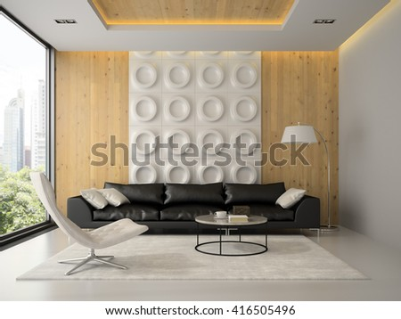 Interior of modern design room with black couch 3D rendering  - stock photo