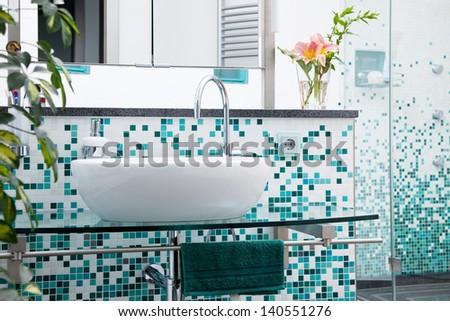 Interior of modern domestic bathroom - stock photo