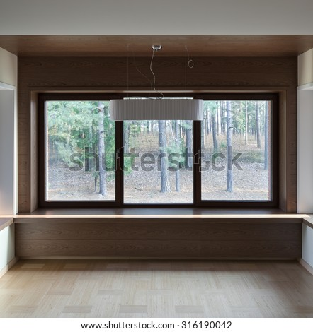 Interior of modern empty room with big windows   - stock photo