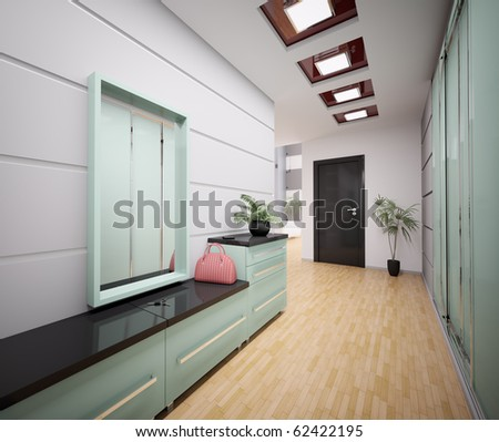 Interior Of Modern Entrance Hall In Apartment 3d Render