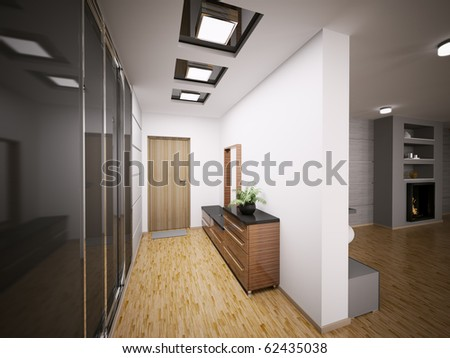 Interior of modern entrance hall in apartment 3d render - stock photo