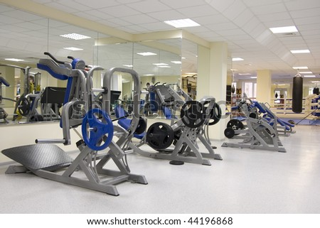 Interior of modern fitness gym