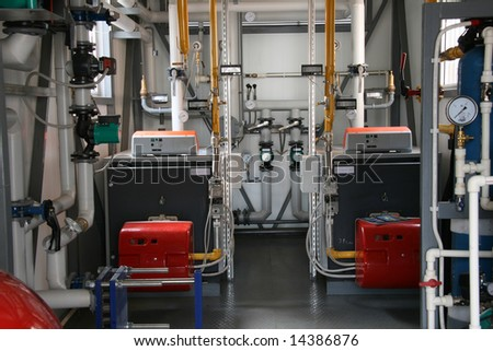 Interior Modern Gas Boilerhouse Two Boilers Stock Photo (Royalty ...