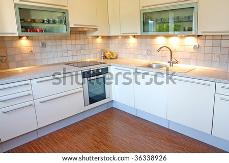 Interior of modern kitchen - stock photo