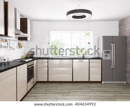 Interior of modern kitchen, fridge,dishwasher,oven 3d rendering - stock photo